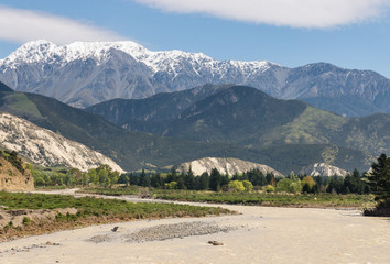 Clarence river with Seaward Kaikoura Range, South Island, New Zealand