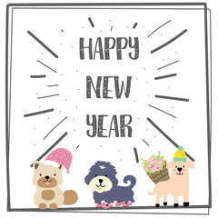 Happy new year greeting card with dog and flower
