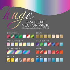 Huge gradient vector pack. 52 beautiful shades in eps 10. Color shade tones: Christmas, Pastel rainbow, Holographic, Metals, Earth, Monochrome, Warm, Cold.