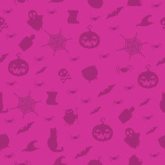 Halloween seamless pattern with cat, pumpkin, bats, spider, web, ghost on green background. Vector illustration, template.