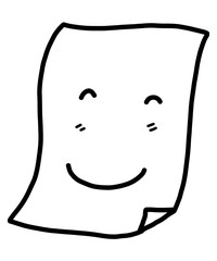 smile paper cartoon / vector and illustration, black and white, hand drawn, sketch style, isolated on white background.