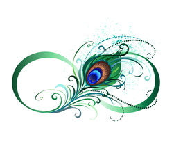 Infinity symbol with peacock feather