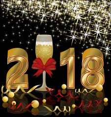 Happy New 2018 year golden postcard, vector illustration