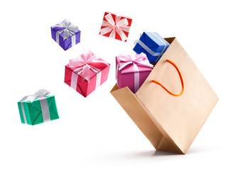 Gift boxes pop out from shopping bag