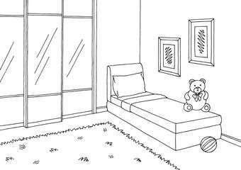 Children room graphic black white interior sketch illustration vector