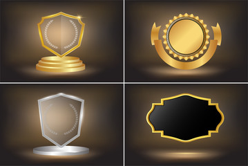 Collection of quality empty badges with gold border. Design elements labels, seals, banners, badges, scrolls,certificate and ornaments .Vector