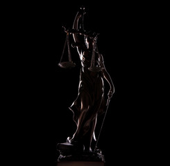 full length picture of goddess of justice statue