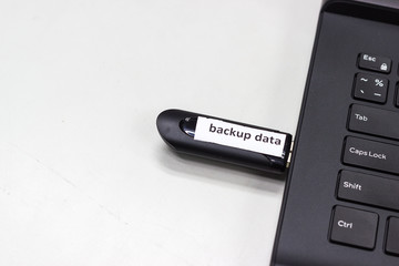 """USB flash drive with label word """"Important"""" connect to USB port plug in computer laptop for transfer data and backup"""