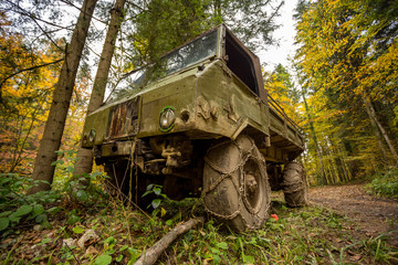 vintage military truck in the forest