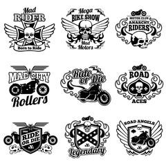 Vintage motorcycle labels. Motorbike vector retro badges and logos