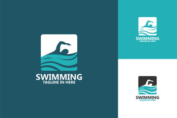 Swimming Logo Template Design