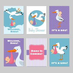 Baby shower invitations vector cards with stork and baby