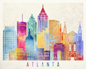 Wall Mural - Atlanta landmarks watercolor poster