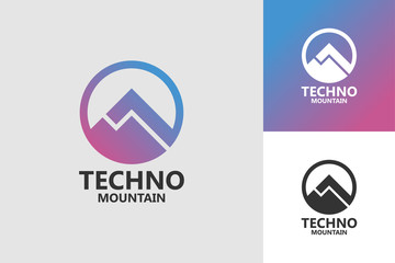 Techno Mountain Logo Template Design
