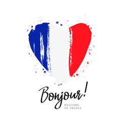 Bonjour. Flag of France in a big heart