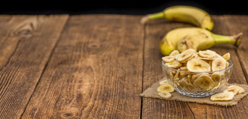 Dried Banana Chips, selective focus