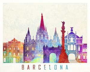 Barcelona landmarks watercolor poster