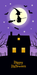 Vector illustration. A black silhouette of bats and a witch flying on a broomstick against the backdrop of a full moon. A rural house with lighted windows, trees and a fence. Text 'Happy Halloween'.