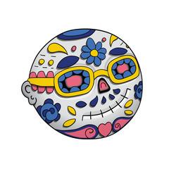 Emoji Smiling With Sunglasses. Day of the dead. Dia de Los Muertos. Halloween. Vector Illustration