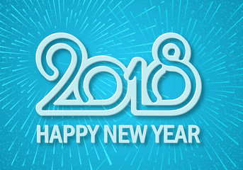 Happy New Year 2018. Christmas. Convex voluminous greeting inscription. Blue background. Explosion of fireworks and salute. Template of postcard, invitation card. Celebration. Winter holidays.