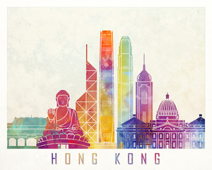 Wall Mural - Hong Kong landmarks watercolor poster