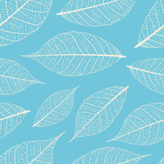 Dry autumn leaves vector seamless pattern