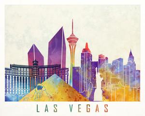 Fototapete - Las Vegas landmarks watercolor poster
