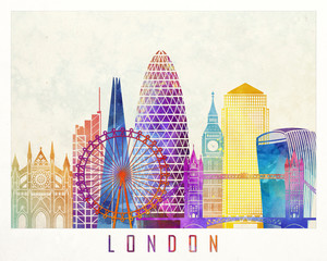 Wall Mural - London landmarks watercolor poster