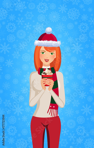 christmas and new year illustration of cute ginger girl in santa hat and striped scarf holding