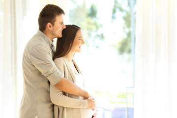 Pregnant woman and husband looking trough window