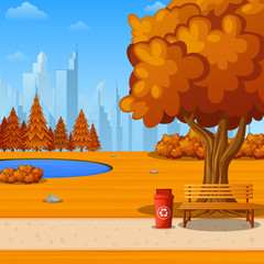 Autumn city park with bench under big tree and city background