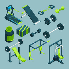 Sports equipment for gym. Vector isometric illustrations