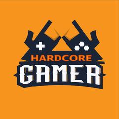 Gamer logo, hardcore gamer concept - vector