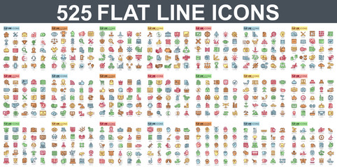 Simple set of vector flat line icons. Contains such Icons as Business, Marketing, Shopping, Banking, E-commerce, SEO, Technology, Medical, Education, Web Development, and more. Linear pictogram pack. Wall mural