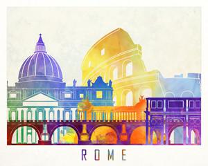 Fototapete - Rome landmarks watercolor poster