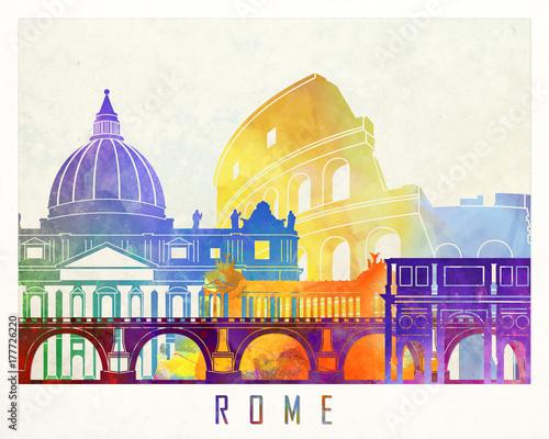 Wall mural Rome landmarks watercolor poster