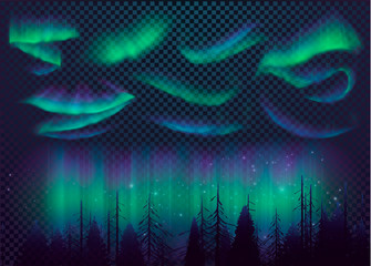 Night Sky, Aurora Borealis, Northern Lights Effect, Realistic Colored polar lights. Vector Illustration, abstract space design for aurora borealis, isolated on transparent background. Wall mural