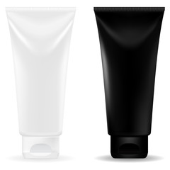 Black and white cosmetic tubes