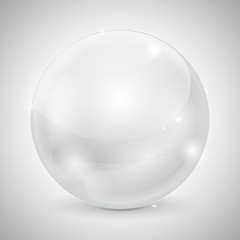 White glass ball. Shiny 3d sphere