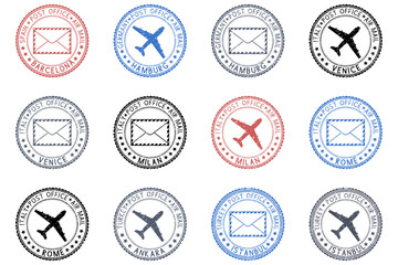 Collection of ink postmarks