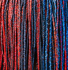 Close-up of afro pigtails braids in Zizi and Kanekalon technique with multi-colored threads and dreadlocks