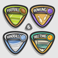 Vector set of sport logos, 4 triangle simple badges with balls, sports signs of minimal design with game equipment for sporting club or school, original type for title words of different kind of sport