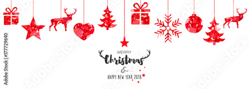 christmas card 2018 with hanging decorations stock image and