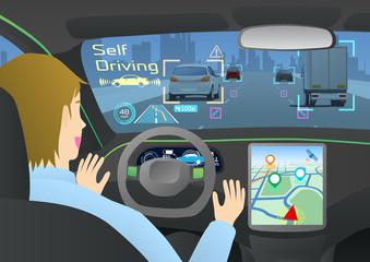 Cockpit of autonomous car. Self driving vehicle. Driverless car.