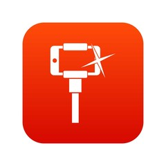 Taking pictures on smartphone on selfie stick icon digital red