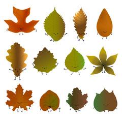 Fallen leaves emoji set. Vector illustration