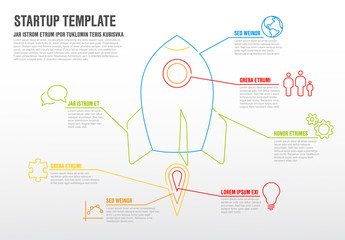 Thin line startup infographic template