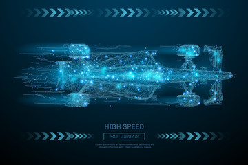 Low Poly wireframe F1 bolid car. High Speed concept. Vector bolide mesh spheres from flying debris. Thin line concept. Blue structure style illustration. Sport polygonal image