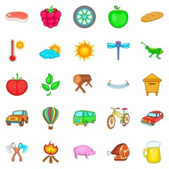 Vacation home icons set, cartoon style