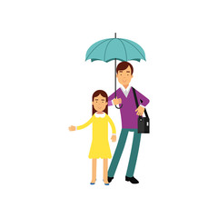 Father with his daughter standing under umbrella vector illustration